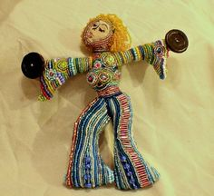 Girl Put Your Records On  Beaded Art Doll by heathershaven on Etsy ~ @Joy Smith this doll reminds me of you! Free spirited with her bell bottoms on, putting her records on! :D