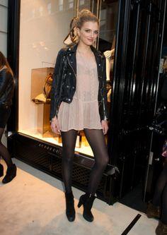 pretty pink dress, tough leather jacket. perfect combo