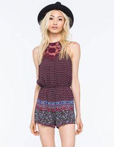 FULL TILT Crochet Neck Border Womens Romper Multi