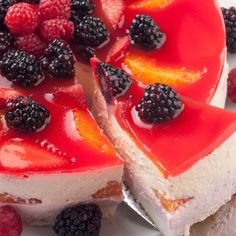 A recipe for a wonderful Yogurt Cheesecake With A Strawberry Glaze and Fresh Fruits