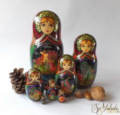 Dazzling SIGNED Matryoshka fairytale-themed nesting dolls, set of 7 Russian traditional Babushka dolls made of bass wood (linden). Sweet faced with expressive eyes, covered with very high quality and fine decorative hand paintings, floral, (raised) golden curls, gold paint, fixed glitters etc. Hand made carved wooden stacking dolls / puzzle dolls in most wonderful colo(u)rs, RARE! by SoVintastic, € 75,-