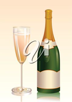 iCLIPART - Royalty free vector clip art illustration of an attractive bottle of champagne with a blank label and a glass with champagne