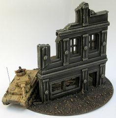 Sculpting a 15mm Building Finished – Tutorial  15mm Building Facade Painted