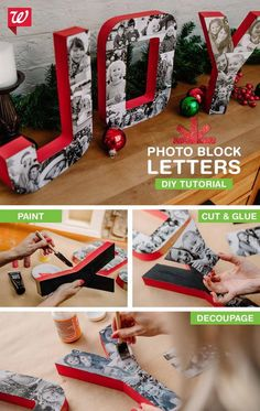 Fun DIY Ideas To Keep Your Kids Occupied This Christmas Turn Your Favorite Family Photos Into Swoon Worthy Block Letters With this DIY Tutorial.Turn Your Favorite Family Photos Into Swoon Worthy Block Letters With this DIY Tutorial. Diy Christmas Gifts, Christmas Projects, Winter Christmas, Holiday Crafts, Holiday Fun, Christmas Holidays, Christmas Decorations, Christmas Ornaments, Christmas Ideas
