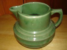 Antique McCoy 1920's Green Stoneware Milk Farm Pitcher