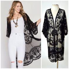 She + Sky Boho Crochet Lace Bell Sleeve Long Kimono Duster Cardigan Black Cream Black Kimono Outfit, Black Lace Kimono, Outfits With Hats, Chic Outfits, Fashion Outfits, Fashion Women, Kimono Crochet, Crochet Lace, 70s Inspired Fashion