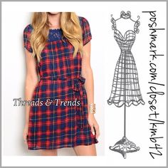 Plaid Belted Shift Dress Adorable navy & red plaid belted shift dress with crochet lace yoked detail. Made of flowy poly/chiffon blend and fully lined. Size S, M, L Threads & Trends Dresses
