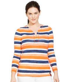 Lauren Ralph Lauren Plus Size Striped Half-Zip Top