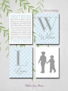 Brothers Bedroom Art, Nursery Monogram Decor, Wall Art, Blue and Gray Nursery, Twin Boys, Baby Gift, New baby Gifts, silhouettes