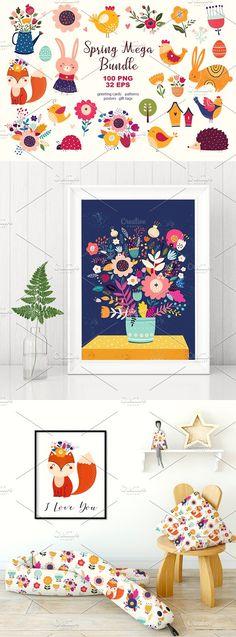 new colorful Spring Mega Bundle by MoleskoStudio