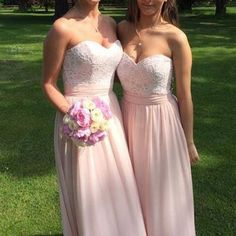 A Line Blush Pink Sweetheart Neckline Lace Chiffon Long Junior Bridesmaid Dresses, WG316