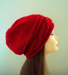 SLOUCHY BEANIE Women's Red Hat Cabled Beanie Winter Hat Chunky Beanie Women Winter Accessories Gift Ideas Under 50 by GrahamsBazaar, $34.99