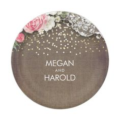 Burlap Lace Rustic Country Floral Wedding Paper Plate  sc 1 st  Pinterest & Burlap And Lace Plates | Zazzle | Mood | Pinterest | Custom plates ...