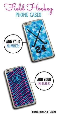Check out our brand new field hockey phone cases! So many new designs available in a variety of colors! These would make a great gift for your favorite field hockey player! Personalize with player name and player number. Only from ChalkTalkSPORTS.com!