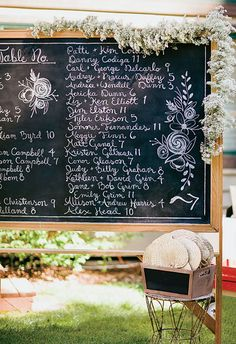 Chalkboard wedding reception seating table chart
