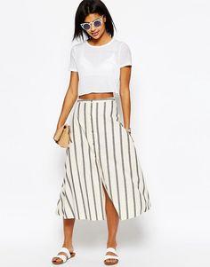 ASOS COLLECTION ASOS Button Through Midi Skirt in Natural Stripe
