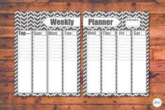 Weekly Planner, Printable Weekly Planner, Planner, Printable, 2 Page, Calendar, Organizer, Herringbone, DIY Planner, 18 Color Choices