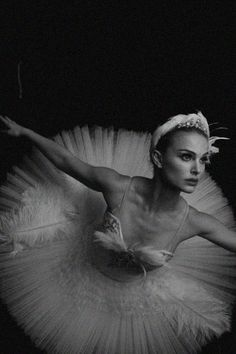 Natalie Portman in Black Swan. I enjoyed the movie and was very impressed with Natalie Portman's complete and total transformation into a ballerina. She actually looked as if she had been dancing all of her life by working out 2x a day. However, now she is pregnant and has moved on past the vanity. :)