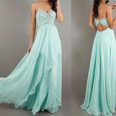Mint Backless Prom Dress Long Evening Dress Beading Chiffon A-Line Sweetheart Floor Length Prom Cocktail Bridesmaid Evening Dress