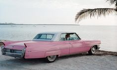 Throwback beach adventures in a pink Cadillac super cute i want it my future car