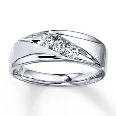 Mens Diamond Band 1 3 Ct Tw Black White 10k White Gold