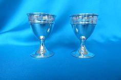 Pair of Edwardian silver egg cups made by Pairpoint Brothers - Marlin Antiques