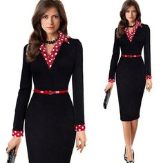 aa01144ac2 Vintage Polka Dot Collar Belted Sheath Pencil Dress. High Street Whistles. casual  womens ...