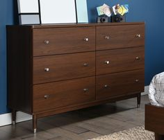 South Shore Olly Mid-Century Modern 6 Drawer Double Dresser, Brown Walnut No, you aren't dreaming: this magnificent dresser really has the vintage modern style Walnut Dresser, Wood Dresser, 6 Drawer Dresser, Double Dresser, Diy Dressers, Dresser Storage, Painted Dressers, Dresser Ideas, Drawer Unit