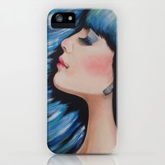 Blue Mermaid Dreams Colorful Figurative Contemporary Art iPhone Case by WinchesterWendy - $35.00