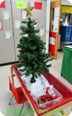 DRAMATIC PLAY- Decorate a Christmas tree at centers during Xmas. Put a bucket full of ornaments, stars, garland, etc. that students can use to decorate again and again._____ I would love to do something similar to this with my students!