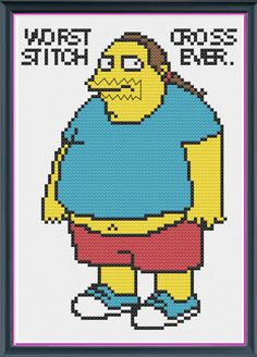 The Simpsons Comic Book Guy Counted Cross Stitch PDF Pattern - INSTANT DOWNLOAD  I am sooooo tempted!