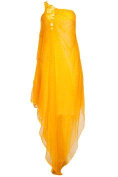 Yellow sequins work lehariya print dress  by Anuj Sharma. Shop now: http://www.perniaspopupshop.com/designers/anuj-sharma    #shopnow #perniaspopupshop #jewellery #anujsharma #margarita #sunset
