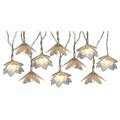 Night light. They're silver mesh, spray paint green for lily pad look or blue?yellow? Now where to put them? 8.5-ft 10-Light White Metal-Shade Plug-In Flowers String Lights Lowe's