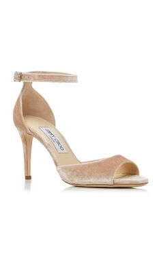 Medium jimmy choo pink annie velvet sandal