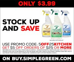 Stock up and save during #BlackFriday month! Get this entire #SimpleGreen cleaning kit for the price of one bottle through 12/4/14 or while supplies last at http://buy.simplegreen.com/naturals-kitchen-kit. Use promo code 5off25kitchen to save $5 off your order of $25 or more.