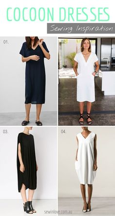 Cocoon dresses look so comfortable. I really like the minimalist chic look as well. Putting ideas together to see if I can do a DIY cocoon dress.