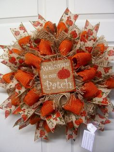 Fall Mesh WreathFall Door WreathFall by CherylsCrafts1 on Etsy