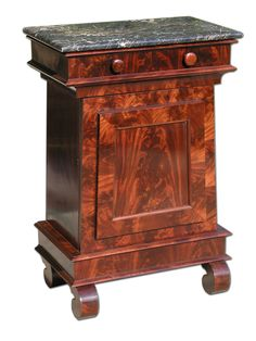 """A Restoration Egyptian Revival Marble Top Mixing Cabinet; Baltimore, c.1835; based on the Temple of Isis at Philac; the drawer signed """"Wens. May 20, 1835, J.G."""", possibly for John Garrett, cabinetmaker, 11 Aliceanna Street, Baltimore; he is the only cabinetmaker with the initials J. G. listed as working in Baltimore during that period (there were two chair makers)"""