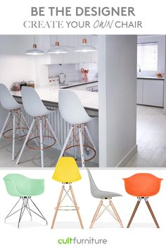 Choose your shell, base and favourite colours to create your ultimate dining/office chair. A perfect way to personalise your home, your office or commercial space.