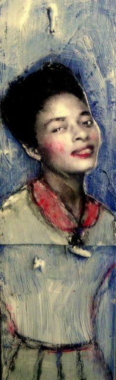 Elle African American vintage portrait painting on wood maudstarr folk art