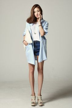 Loose Fit Linen Long Jacket