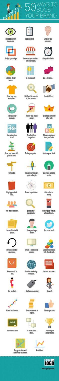"""Super Logo tarafından hazırlanan """"50 Ways To Boost Your Brand   Markanızı Ateşlemek İçin 50 Yol"""" adlı infografik başarılı bir marka yolu izlemeniz için ipuçları verirken bir yandan da size yapılacak işler listesi sunuyor. #socialbusiness #marka #brand #değer #kariyer #başarı #iş #dijitalpazarlama #marketing #digitalmarketing #sosyalmedya #blog #infografik #infographic"""