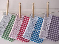 cute gingham and lace pouches