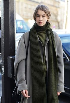 Khaki scarf   Neutrals   Street style   Winter dressing   Harper and Harley