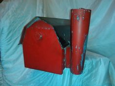 Check out this item in my Etsy shop https://www.etsy.com/listing/214687408/vintage-metal-redblack-barn-mailbox