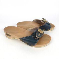 Dr Scholls Sandals Vintage 1980s Blue by purevintageclothing