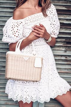 White eyelet mini dress.
