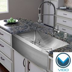 Complete Your Kitchen With Vigou0027s Single Sink Kitchen Set Featuring A  Farmhouse Style Apron Front Sink, Stainless Steel Faucet, Soap Dispenser,  ...