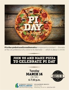 Teens can celebrate #PiDay w/pizza pie. Math has never been so tasty! Williamsburg