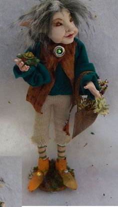 Alfie Woodland Elf w/ Turtle OOAK Fairy Fairies Art Doll Posable Sculpture NEW #handmade